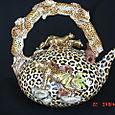 Large Gold Leopard Print Teapot